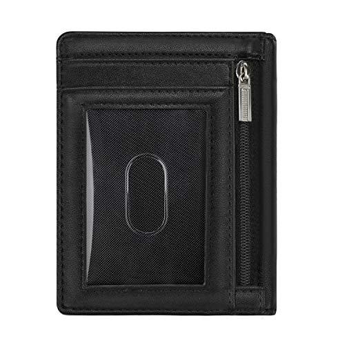 Vemingo Portefeuille Homme Mince RFID avec Poche à Monnaie Zippé, Portefeuille pour Homme Minimaliste Porte Carte de Crédit Porte Carte d'Identité, avec Compartiment à Billets, Pratique, Noir