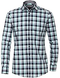 Venti Edition Slim Fit Langarmhemd ÄL 72 cm grün grau blau Karodessin