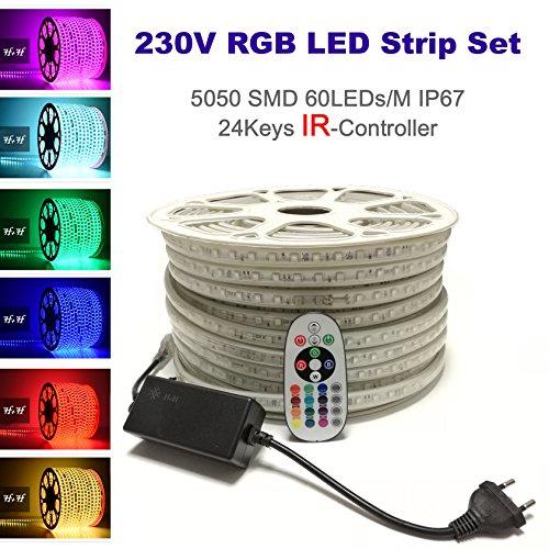 25 Meter 230V LED RGB mehrfarbig Strip Streifen Lichtband Flex Band mit 5050 SMD 60LEDs pro Meter IP67 - für Innen und Außen Wasserfest mit 24 Keys Infrarot (IR) Fernbedienung (IR-Controller (Infrarot), 25 Meter)