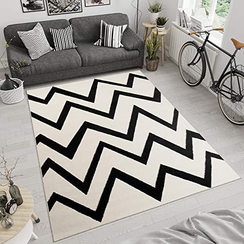 Tapiso MAROKO Teppich Kurzflor Modern Geometrisch Zick Zack Abstrakt Linien Streifen Muster Creme Schwarz Wohnzimmer ÖKOTEX 120 x 170 cm -
