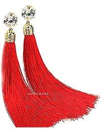 Naina Creations Stone Tassel Earrings Red