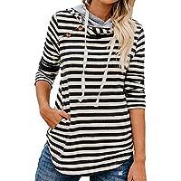 Hanomes Damen Streifen Knopf Sweatshirt Langarm Kapuze Sweatshirts Casual Hoodie Tops Casual Pullover Slim fit... preisvergleich bei billige-tabletten.eu
