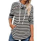 VEMOW Herbst Winter Damen Gestreiften Knopf Sweatshirt Langarm Doppel Kapuze Sweatshirts Hoodie Tops Pullover(Schwarz, EU-40/CN-XL)