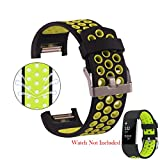 #6: Fitbit Charge 2 Band Strao By House of Quirk Soft TPU Adjustable Replacement Bands Fitness Sport Strap - Black/Green