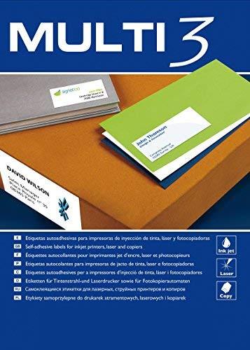 Etiquetas Adhesivas Multi3 Para Inkjet Laser Y Fotocopiadoras Cantos Rectos 100 Hojas 70 X 42.4mm