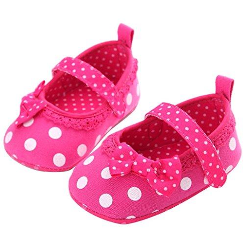 Saingace Bébé Fille Bowknot Dot Casual Chaussures à Semelle Souple (13(13cm/12-18mois), Rose vif) Rose vif