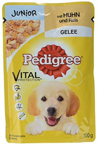 Pedigree Junior Hundefutter Huhn und Reis in Gelee, 24 Beutel (24 x 100 g)