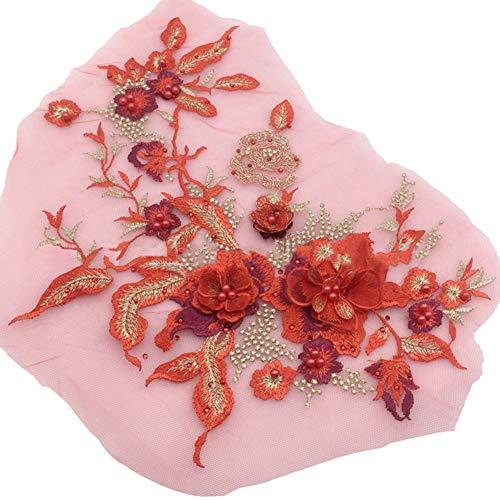 dragonaur Dekorative 3D Blume Stickerei Spitze Applikation Perlen Strass Tüll DIY Hochzeit Kleid Dekoration rot