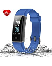 Muzili Smart Fitness Band, Activity Tracker with Heart Rate Monitor, IP68 Waterproof Smart Bracelet Color Screen Sleep Monitor 14 Exercise Modes Pedometer Fitness Tracker for Men and Women (Blue)