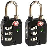 Leovar UltraLock 300 3stelliges Hochsicherheits- TSA- Gepäckschloss mit SearchCheck- Indikator - Schwarz Doppelpack