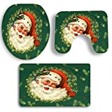 Sockel Teppich + Deckel Toilettendeckel + Badematte Set,Moonuy 3 STÜCKE umweltschutz Weihnachten Bad Rutschfeste Sockel Teppich + Deckel Toilettendeckel + Badematte Set einfach absorbieren wasser (B)
