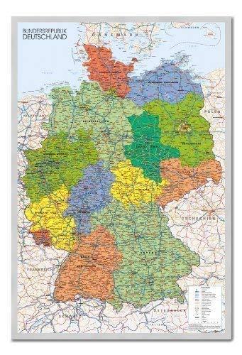 Deutschland Karte Pinnwand-Kork Board mit Pins gerahmt in Silber Holz inkl. Stecknadeln, 96,5x 66cm (ca. 96,5x 66cm)