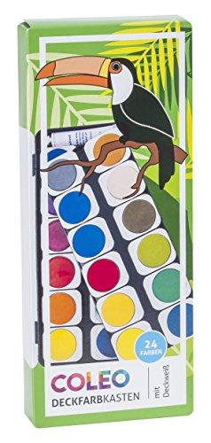 coleo 744195 Deckfarbkasten 24 Farben Kunststoff-Etui, inklusiv 1 Tube, 7.5 ml, Deckweiß