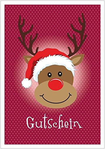 Erhältlich im 1er 4er 8er Set: Lustige Weihnachtskarte als Gutschein Klappgrußkarte/Weihnachtsgutschein zu Weihnachten mit Rudolf, Mütze und Sterne in Dunkel Rot (Mit Umschlag) (1)