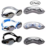 Bezzee-Pro 3 Pack Anti-UV Gafas de Natación con Ajustable Correa de Silicona, 9 x Puente Nasal y 3 x Tapones de oídos - Anti-Niebla Gafas para Triatlón con Estuche Protector para Hombres y Mujeres