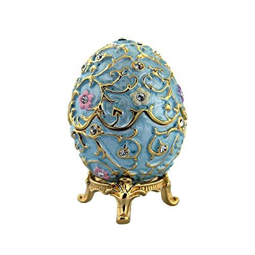 """Blume Musikspieluhr Fabergé-Stil Ei 3.25"""" blau"""