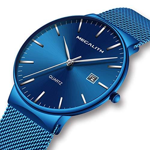 Herren Uhren Männer Sport Wasserdicht Luxus Edelstahl Mesh Mode Armbanduhr Mann Dünne Einfach Datum Kalender Analoge Quarzwerk Uhr
