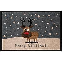 HANSE Home Design Fussmatte Schmutzfangmatte Merry Christmas Reindeer Rentier, Polyamid, Grau Braun, 40 x 60 x 0.7 cm