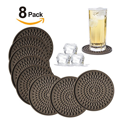 Silikon Untersetzer set-deep Tablett, groß 10,9cm Größe Schützen Tisch Schreibtisch von Getränke, Getränke, Wasser oder Alkohol wie Whiskey, Bier, Wein, Tropische Cocktails von kindga... Brown-oval