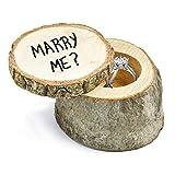 FEIGO Boîte à Alliance en Bois, Boîte de Bague Porte Alliance pour Mariage, Fête, Anniversaire