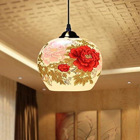 CHENWEIXXOO Speisesaal Kronleuchter Chinarestaurant Kronleuchter klassische Wohnzimmerlampe, Single-hung handbemalten blau-weißen Fisch ball, gelben oder weißen Licht LED-Lampe
