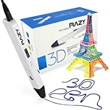 Impresión 3D Profesional con Pantalla OLED de Pluma para el Arte, la Modelización, la Impresión y la Artesanía, Compatible con Filamentos de PLA / ABS + 3 Gratis 1,75mm Recargas de Filamento, el Regalo Perfecto para los Niños y Adultos (Blanco)
