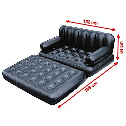 DFS-Pure-Comfort-Bestway-5-in-1-Inflatable-Sofa-AIRBED-Couch-Black-with-Free-Electric-Pump-2-Free-Gifts-18-in-1-Pocket-Card-Tool-and-Pocket-Card-Mobile-Holder-Special-Offer
