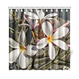 QIUJUAN Home Decor Bath Curtain Blossom Bloom Flower White Yellow Frangipani Polyester Fabric Waterproof Shower Curtain for B