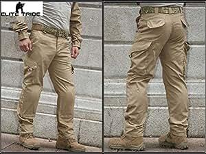 Homme Tenues de Combat Pantalon Tactique Militaire Gen3 pantalons de formation et Genouillères Tan (S (30))