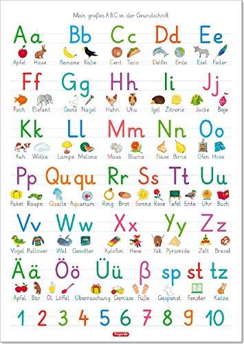 Fragenbär-Lernposter: Mein großes ABC in der Grundschrift (GS), L 70 x 100 cm (Lerne mehr mit Fragenbär) (Felsen Große)