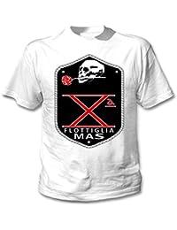 teesquare1st FLOTTIGLIA Decima MAS Camiseta Blanca para Hombre de Algodon