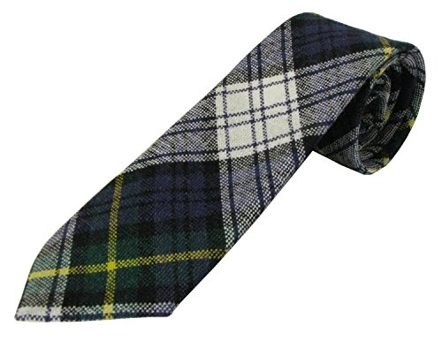 """A 100% Wool Childs Neck Tie in Gordon Dress Tartan. Woven and Manufactured Scotland by Ingles Buchan. Measures 6cm by 91cm (2.5"""" by 36"""") has a Black Satin Lining."""