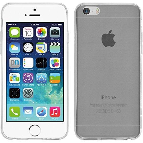 PhoneNatic Case für Apple iPhone 6s / 6 Hülle Silikon grau Slimcase Cover iPhone 6s / 6 Tasche + 2 Schutzfolien Transparent