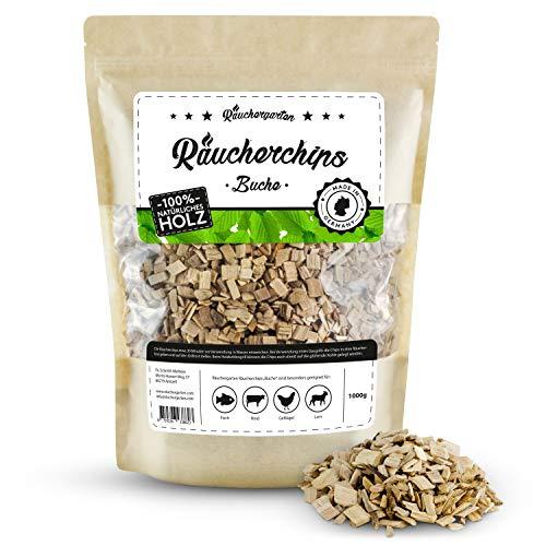 Räuchergarten Premium Räucherchips - 1kg Buche Smokerchips für optimales Raucharoma beim Grillen - 100% natürliches Räucherholz aus Deutschland