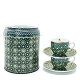 Images d'Orient Geschenkset 2 in 1 Metalldosen mit 2 x 90ml Porcalain Espressotassen Espressobecher Moccatassen je mit einem Unterteller in mediterranem, orientalischem Design