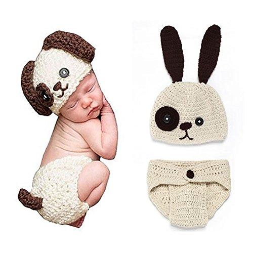 Veewon Neugeborenes Baby Mädchen Kostüm Fotografie Foto Props Häkelarbeitknit Baby-Outfits Set (Hund) (Mädchen Hund Weihnachten Kleidung)
