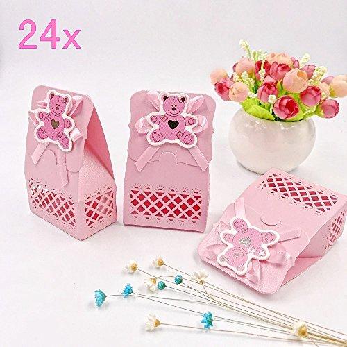 JZK 24 Rosa Gastgeschenk Süßigkeiten Schachtel mit Bär Muster für Baby Mädchen Geburtstag Taufe Neugeborenen Babyparty Baby Shower Kinder Party