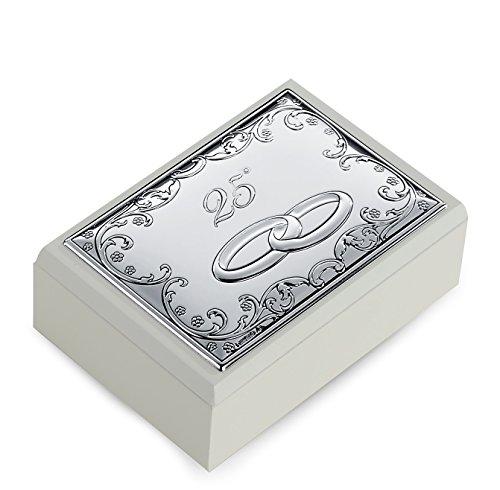 Schatulle Thema Barock 25Jahrestag Hochzeit Silberhochzeit cm 9x 13H.4,5Bi Laminat Silber Made in Italy Holz– (4-laminat)