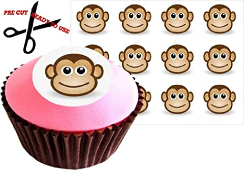 12 CHEEKY MONKEY 38mm (1.5 Inch) PRE-CUT Cake Toppers Edible Rice Paper Cupcake Decoration (misc) by The Lazy Cow