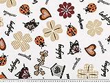 Dekostoff, Käfer-Kleeblätter, weiß-beige-orange, 140cm