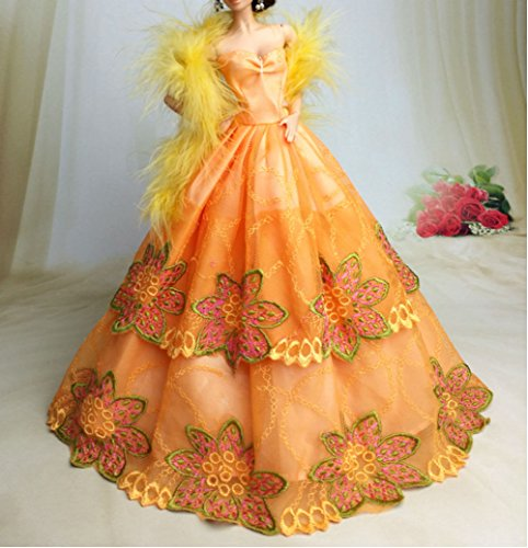 BU-02 Schöne und modische handgefertigte elegante schöne Hochzeit Abend-Partei-Kleid für Barbie Puppe(Puppen nicht im Lieferumfang enthalten) (2)