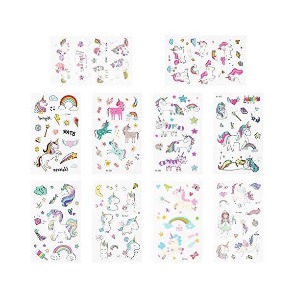 Adesivi per unicorno Tatuaggi temporanei - Regali per bambini unicorno, Tatuaggi per unicorno impermeabili Regali di… 3 spesavip