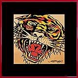 Ed Hardy Poster Kunstdruck und Kunststoff-Rahmen - Tiger (40 x 40cm)