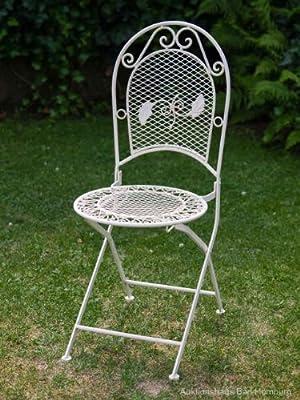 Nostalgie Gartenstuhl 9kg Schmiedeeisen Stuhl Klappstuhl Antik Stil Creme Weiss