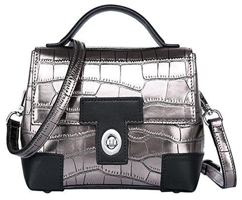 SAIERLONG Neues Damen Silber Grau Rindleder-Echtes Leder Damen Handtaschen Schultertaschen