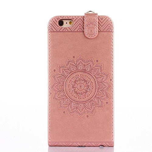 Coque iphone 6 /iphone 6s ,Fodlon® Totem Embossé Haut-bas ouvert faux cuir Flip Stand avec Noir Cordon Cas Couverture pour iphone6/6s-Gold Or rose