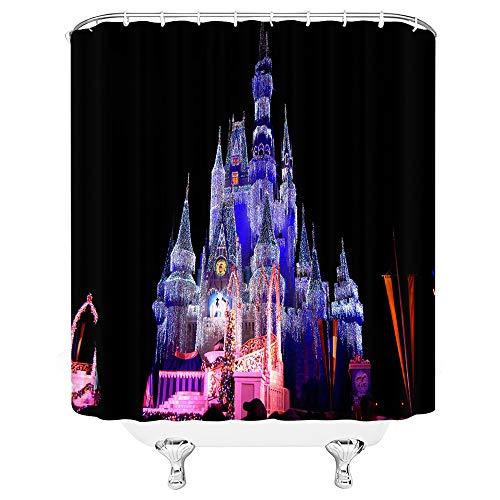 asadsafe Rot blau schwarz grün orange Schloss verträumt Disney hochwertige duschvorhang, mehltau und wasserdicht Lange duschvorhang (Duschvorhang Grün Und Orange)