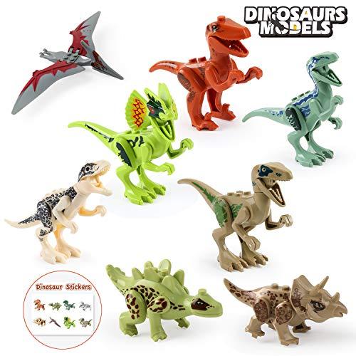 BeebeeRun Dinosauro Jurassic Mondo Dinosauro Giocattoli 8 Pezzi,articolazioni Sono mobili,Dinosauri Regalo per Bambini