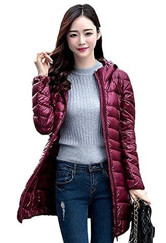 Lovache Lang Daunenjacke Damen Ultra Leicht Winter Mantel Mit Kapuze Parka Jacke
