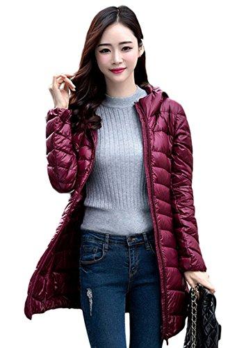 Lovache Lang Daunenjacke Damen Ultra Leicht Winter Mantel Mit Kapuze Parka Jacke, XL, rot(Herstellergröße: 3XL) (Mantel Daunenjacke)